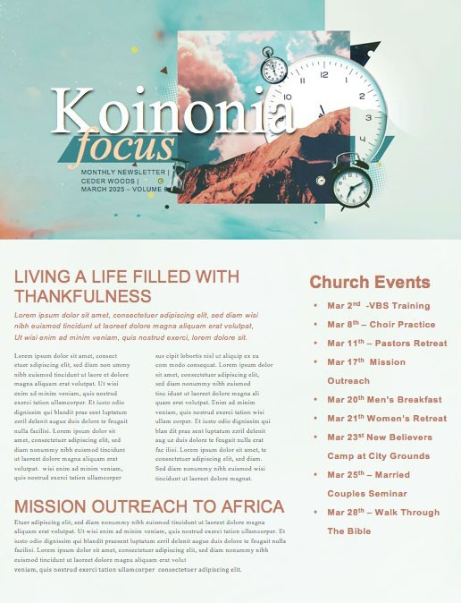 Spring Forward Daylight Savings Church Newsletter