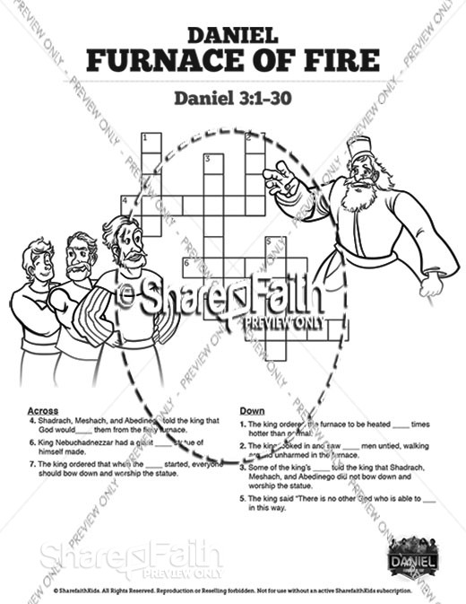 Daniel 3 The Furnace of Fire Sunday School Crossword Puzzles