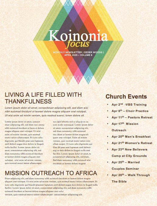 Easter Sunday Colorful Church Newsletter