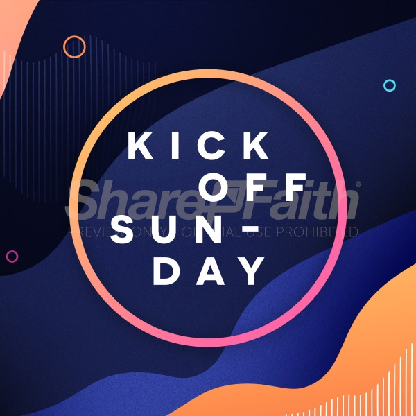 Kick Off Sunday Blue Social Media Graphic