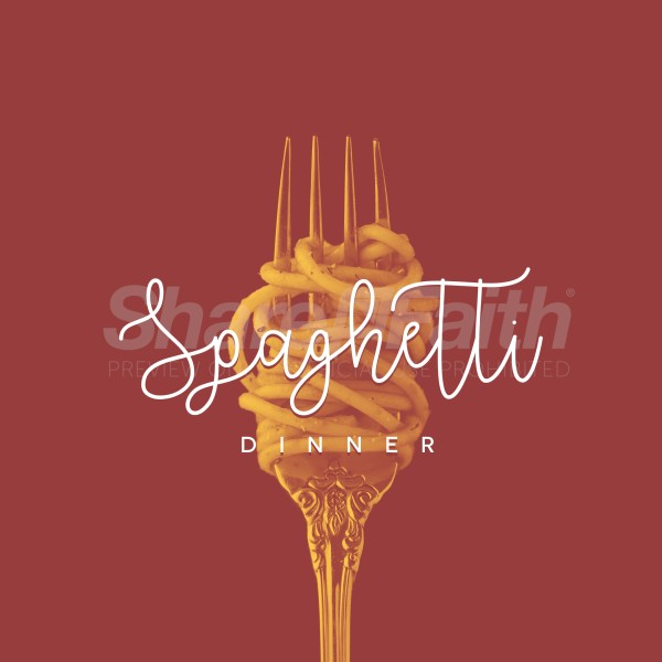 Spaghetti Dinner Fork Social Media Graphic