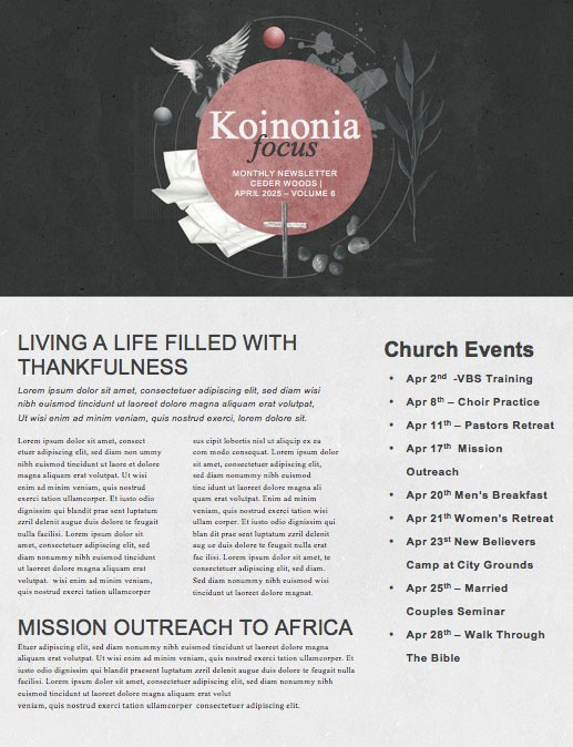 Good Friday Cross Church Newsletter