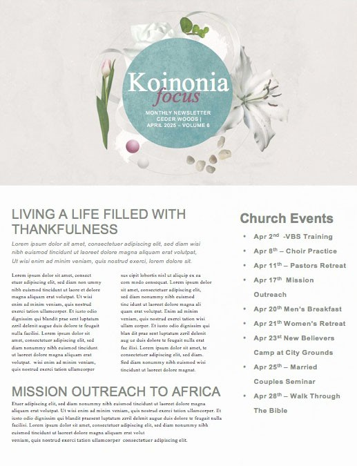 Easter Sunday Lily Church Newsletter