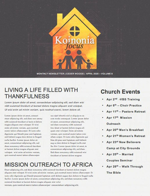 Family Matters House Church Newsletter