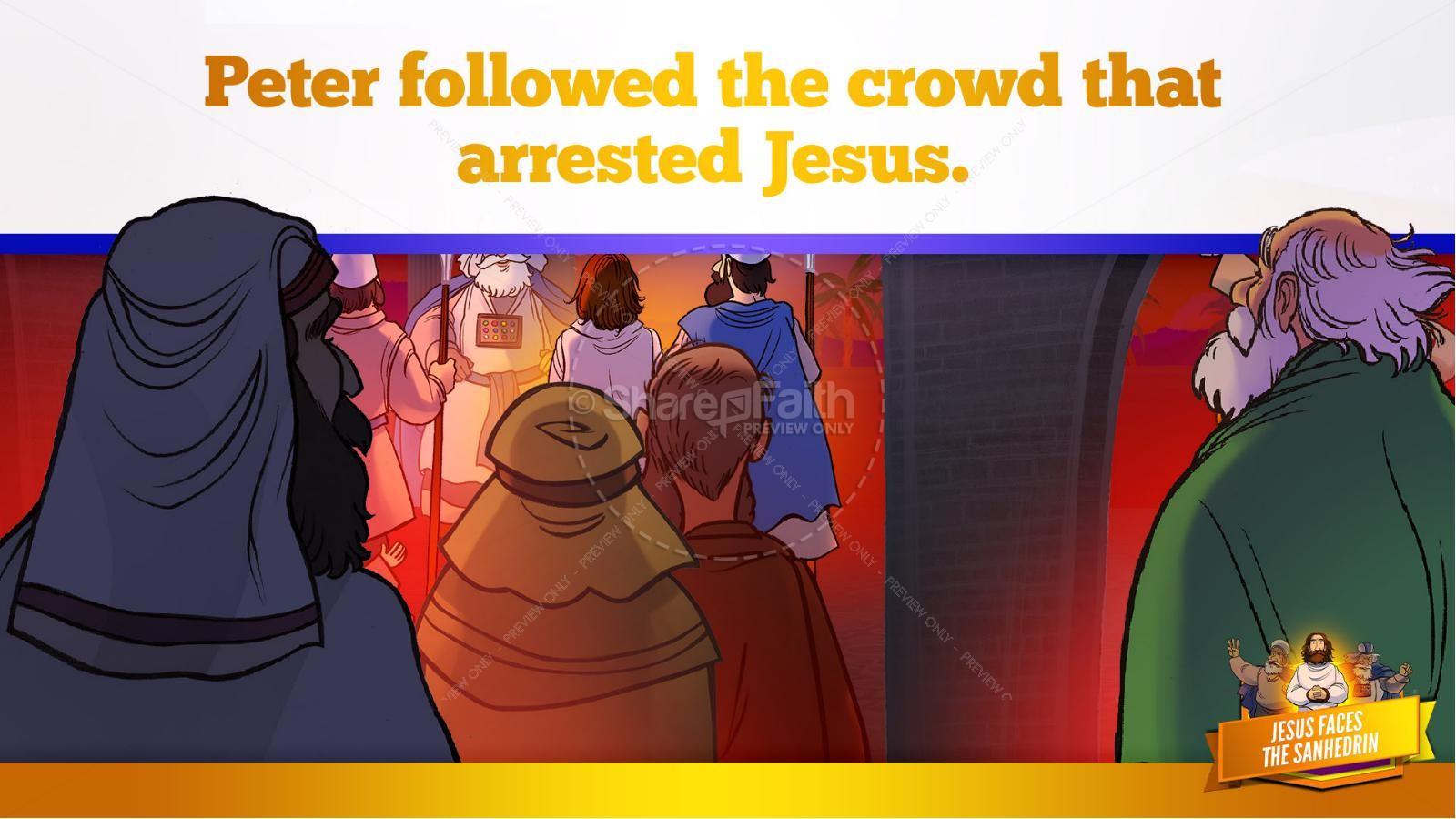 Matthew 26 Jesus Before the Sanhedrin Kids Bible Story | slide 12