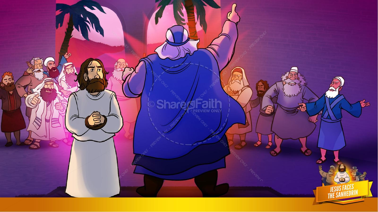 Matthew 26 Jesus Before the Sanhedrin Kids Bible Story | slide 22