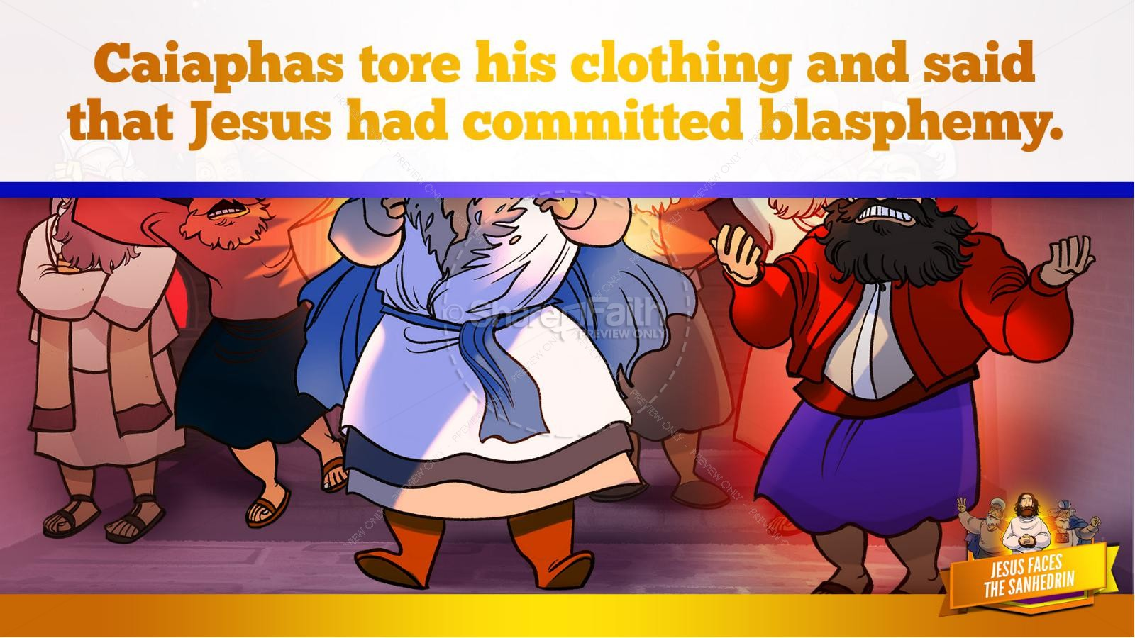 Matthew 26 Jesus Before the Sanhedrin Kids Bible Story | slide 32