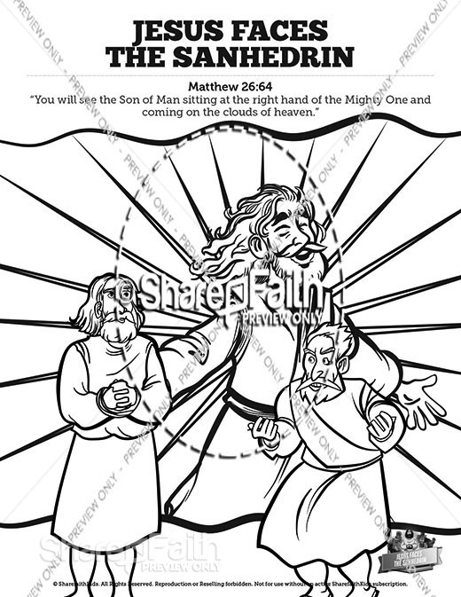 Matthew 26 Jesus Before the Sanhedrin Sunday School Coloring Pages