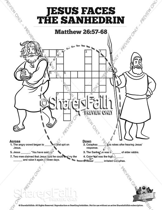 Matthew 26 Jesus Before the Sanhedrin Sunday School Crossword Puzzles