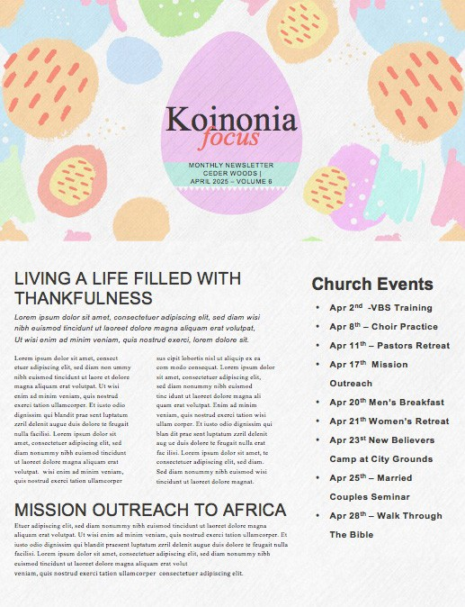 Easter Egg Hunt Pastel Church Newsletter