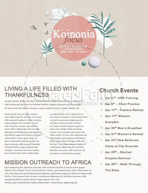 Palm Sunday Pink Church Newsletter