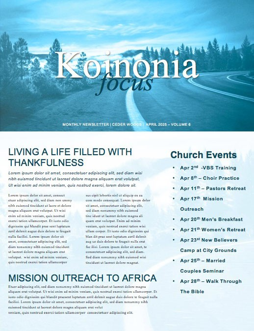 The Path Blue Church Newsletter