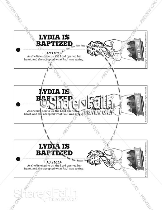 Acts 16 Lydia is Baptized Bible Bookmarks