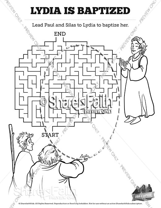 Acts 16 Lydia is Baptized Bible Mazes