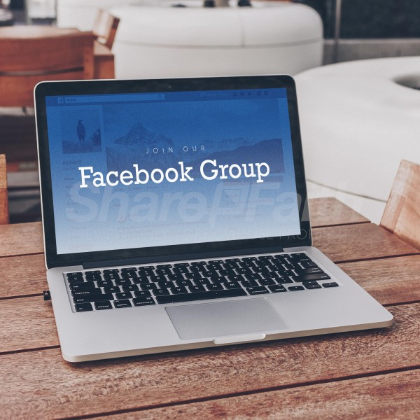 Facebook Group Laptop Social Media Graphic