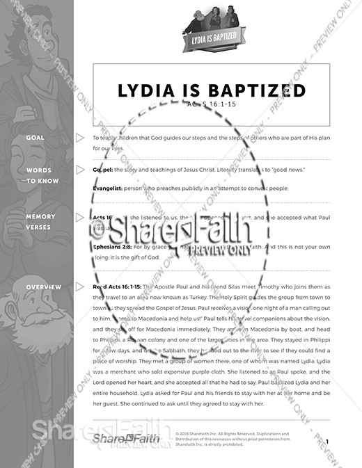 Acts 16 Lydia is Baptized Curriculum