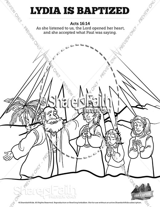 Acts 16 Lydia is Baptized Sunday School Coloring Pages