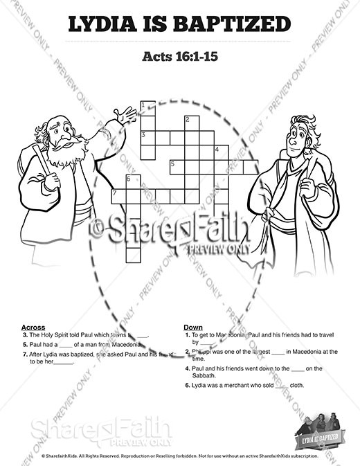 Acts 16 Lydia is Baptized Sunday School Crossword Puzzles