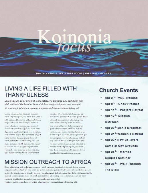 Deeper Church Newsletter
