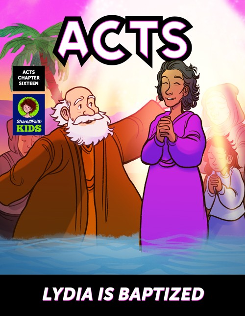 Acts 16 Lydia is Baptized Digital Comic