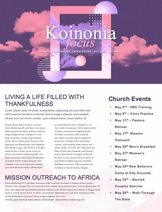 Vision Sunday Purple Church Newsletter