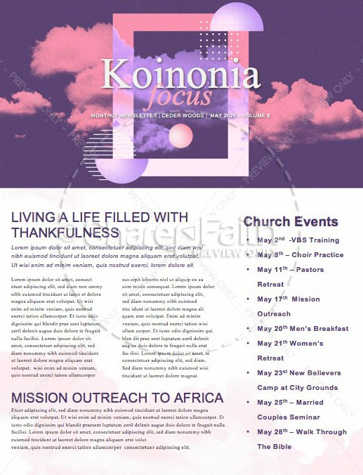 Vision Sunday Purple Church Newsletter
