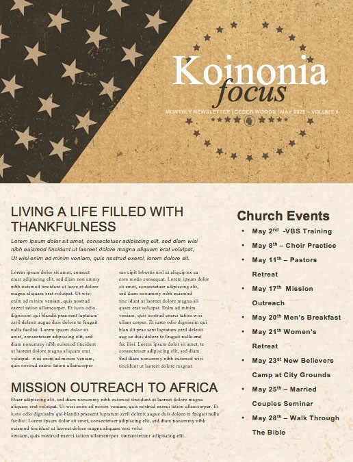 Memorial Day Cork Church Newsletter