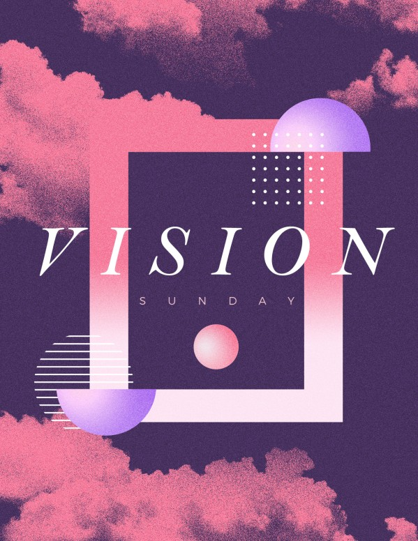 Vision Sunday Purple Church Flyer