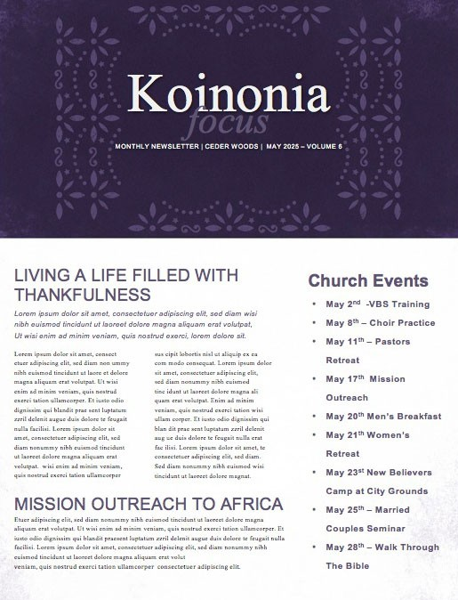 Cinco De Mayo Purple Church Newsletter
