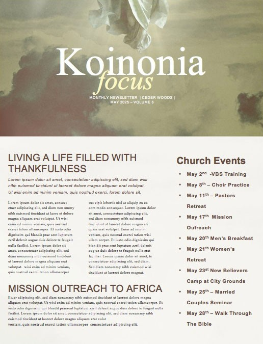 Ascension Day Clouds Church Newsletter