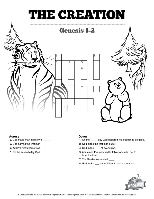 The Creation Story Sunday School Crossword Puzzle Free Trial