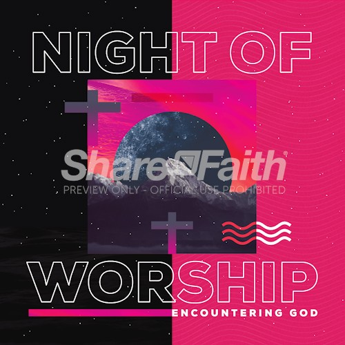 Night of Worship Church Event Social Media Graphic Free Trial