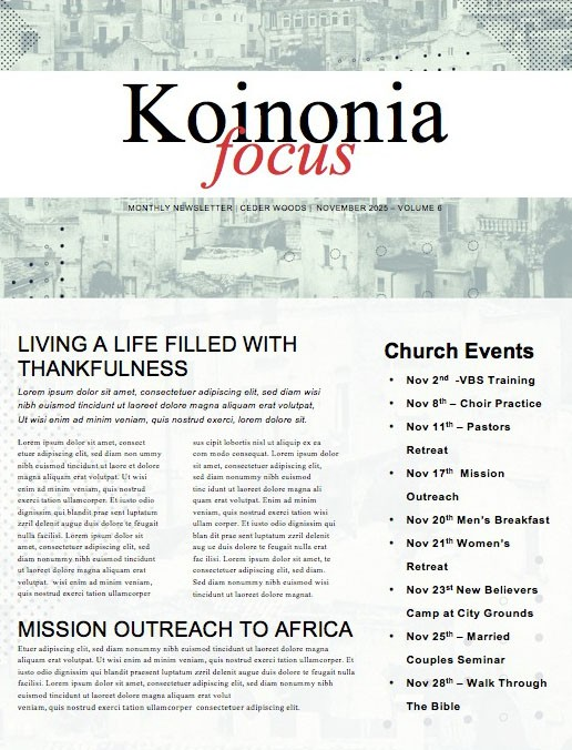 Mission Minded Church Newsletter Free Trial