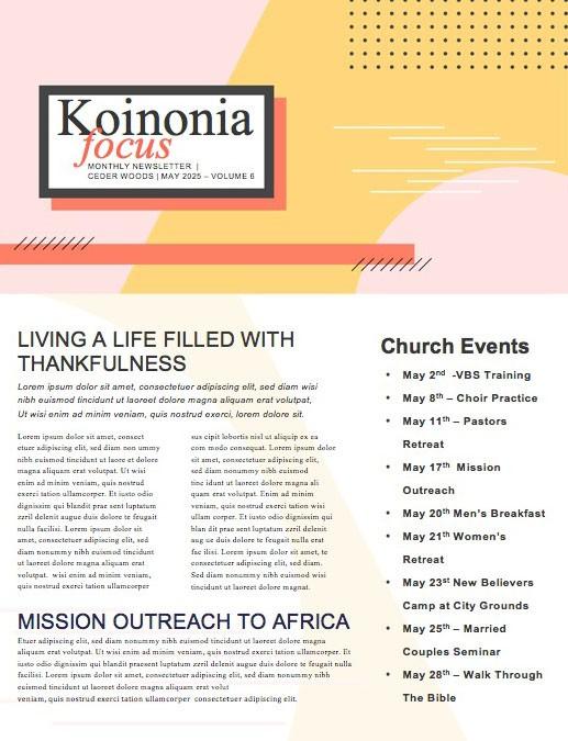 Serve Sunday Church Monthly Newsletter