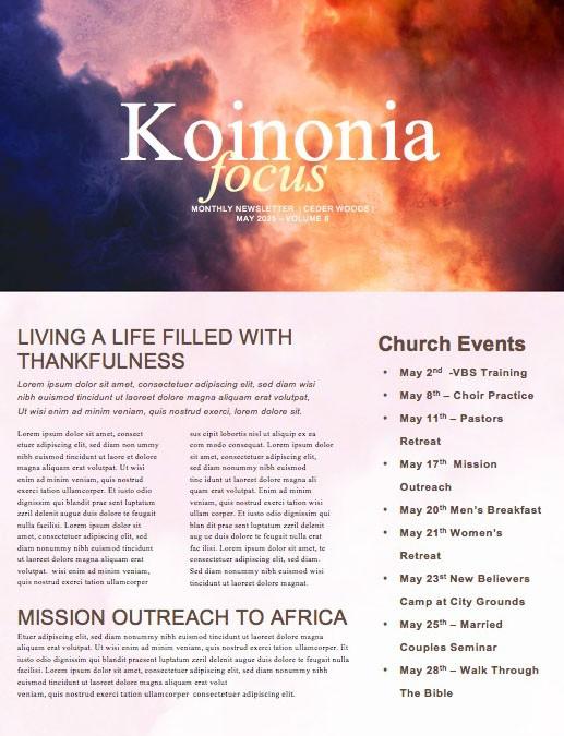 Pentecost Red Clouds Church Newsletter