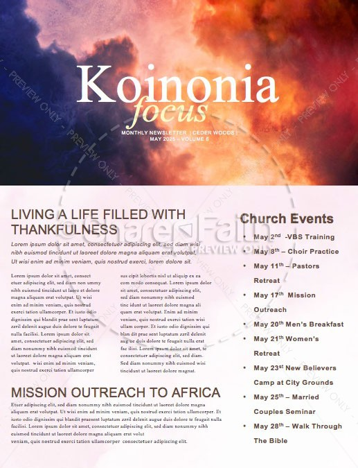Pentecost Red Clouds Church Newsletter