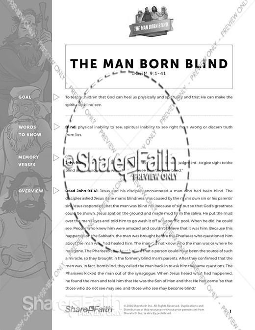 John 9 The Man Born Blind Curriculum