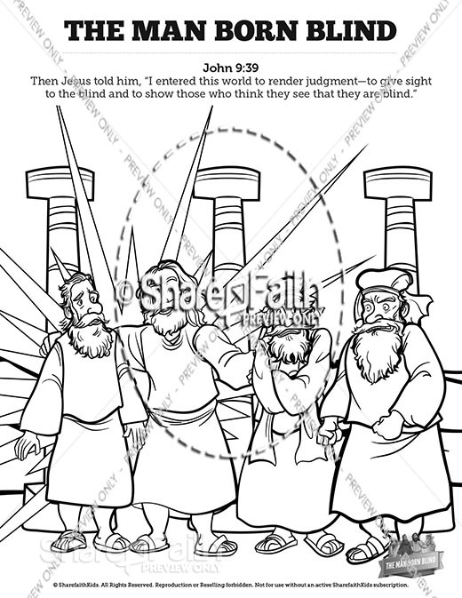 John 9 The Man Born Blind Sunday School Coloring Pages