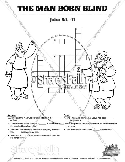 John 9 The Man Born Blind Sunday School Crossword Puzzles