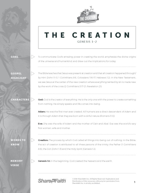 Genesis 1&2 Creation Story Sunday School Curriculum Free Trial