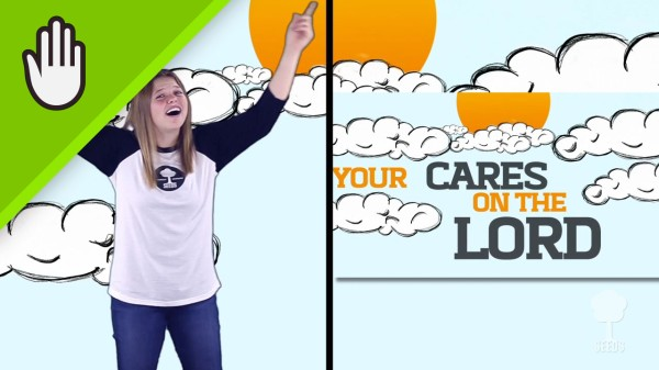 Cast Your Cares Kids Worship Video for Kids Hand Motions Split Screen