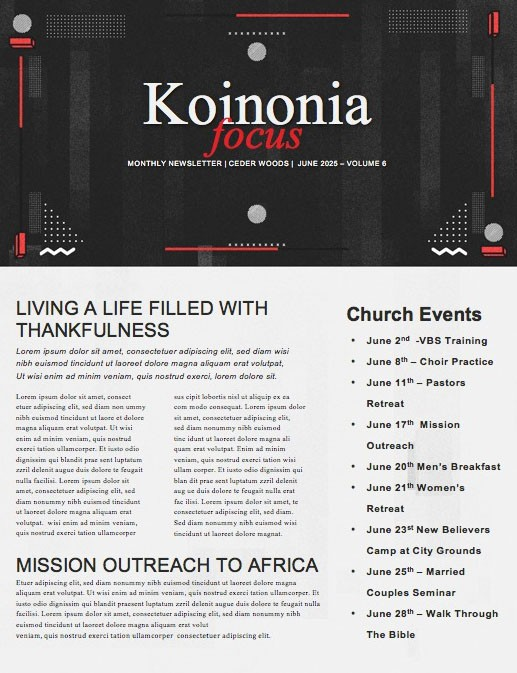 Selfless Church Newsletter