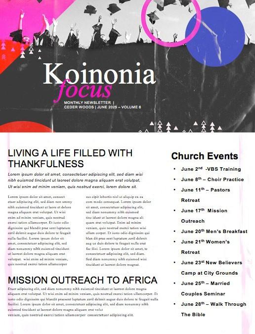 Grad Sunday Church Newsletter