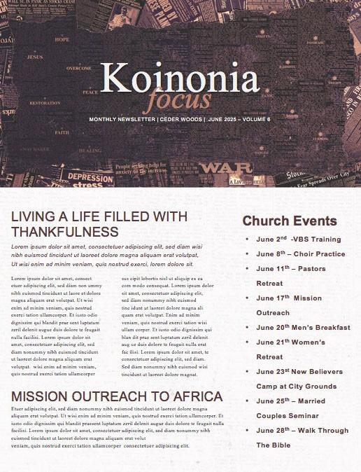 Trust Over Fear Church Newsletter