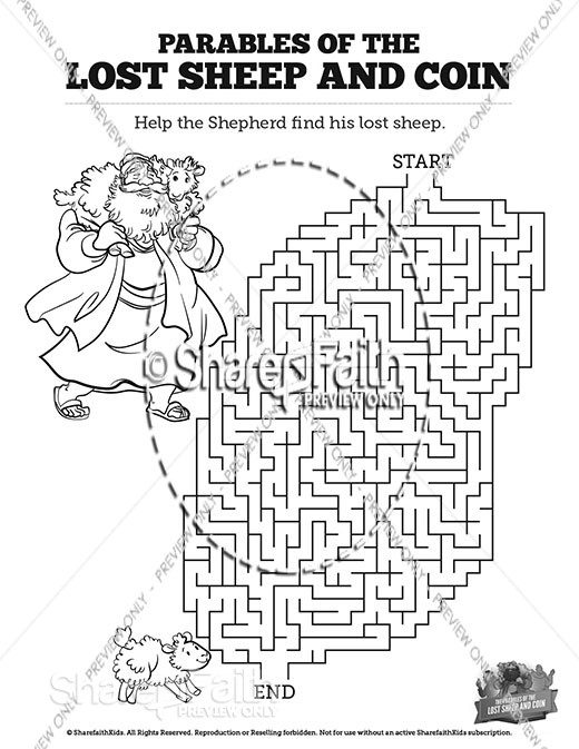 Luke 15 The Parables of the Lost Sheep and Coin Bible Mazes