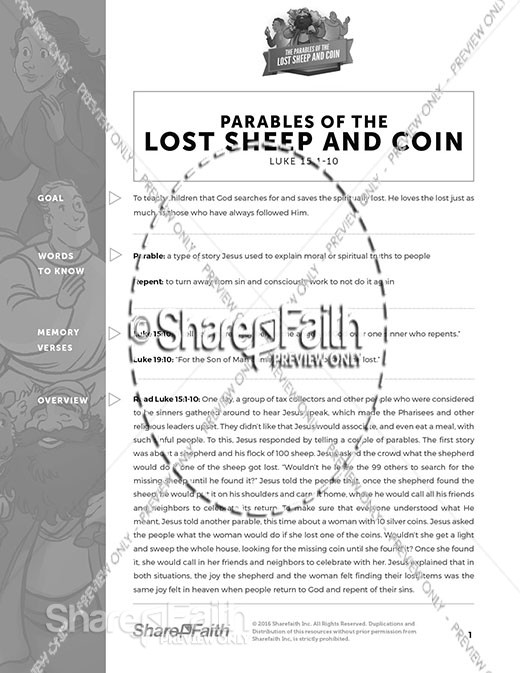 Luke 15 The Parables of the Lost Sheep and Coin Curriculum