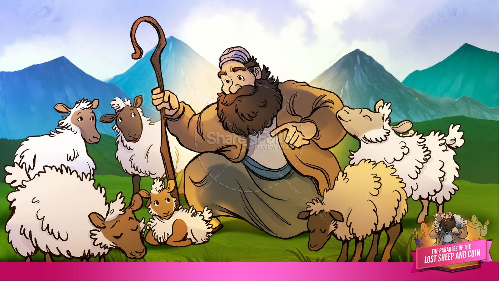 Luke 15 The Parables of the Lost Sheep and Coin Kids Bible Story | slide 14