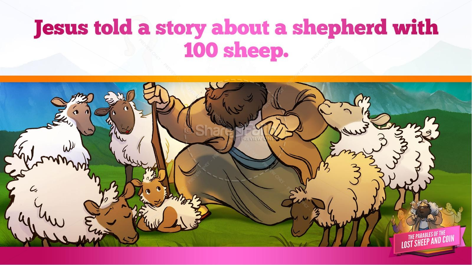 Luke 15 The Parables of the Lost Sheep and Coin Kids Bible Story | slide 16