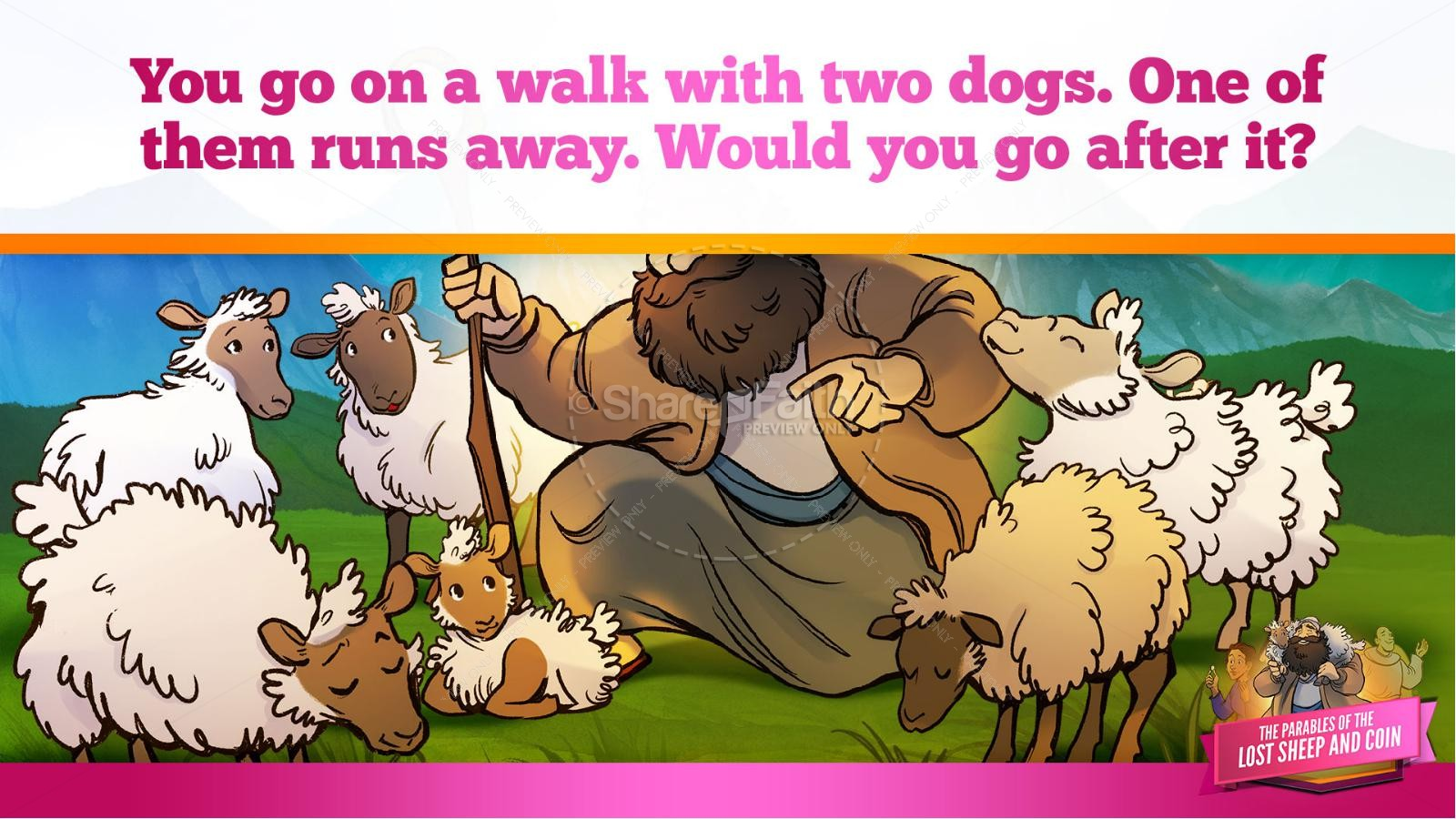 Luke 15 The Parables of the Lost Sheep and Coin Kids Bible Story | slide 17