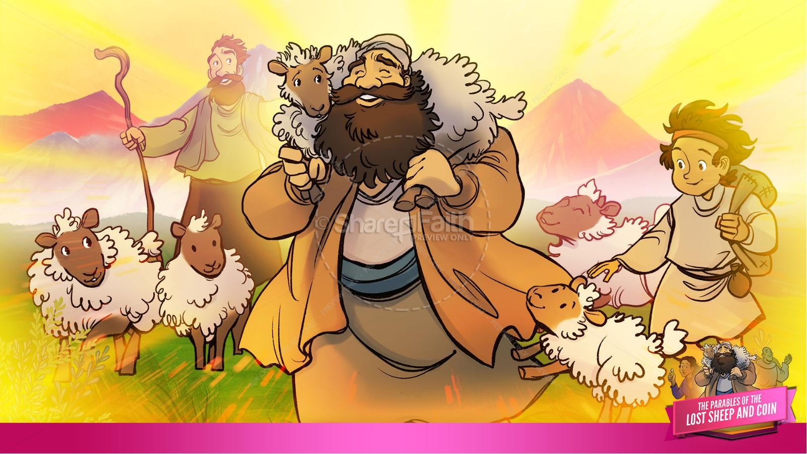 Luke 15 The Parables of the Lost Sheep and Coin Kids Bible Story | slide 18